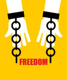 Freedom. Broken fetters. Liberation from slavery. Broken chain h Stock Photos