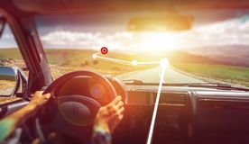 Freedom Car Travel Wanderlust Vacation Concept. Man Hands Traveler Drive Car. Augmented reality. Concept royalty free stock photography