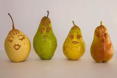 Freedom of choice. The difference of female figures, features. Different in color and size of pears. Female figure, type. Light background, drawing made by the royalty free stock photos