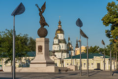 Freedom and Church. Landscape of freedom square and church in kharkiv ukraine Royalty Free Stock Photos