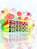 Freedom colorful 3d message. 3D colorful message of Freedom on colorful composition background Stock Photo