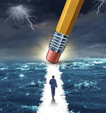 Freedom Concept. With a lightning storm at sea and a pencil erasing a clear path for a businessman to walk to his success goal as a metaphor for bridge building royalty free illustration