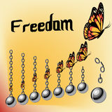 Freedom concept with iron broken chains and raising butterflies. Stock Photo