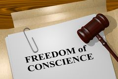 FREEDOM of CONSCIENCE concept. 3D illustration of FREEDOM of CONSCIENCE title on legal document Stock Image