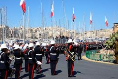 Freedom day celebrations, Vittoriosa. Freedom day celebrations with military personnel and a brass band by the Freedom Day monument, Vittoriosa, Malta, Europe Stock Photography
