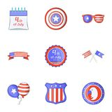 Freedom day icons set, cartoon style Royalty Free Stock Photos