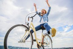 Freedom and delight. Woman feels free while enjoy cycling. Most satisfying form of self transportation. Cycling gives. You feeling of freedom and independence stock images