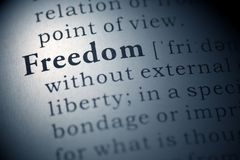 Freedom. Dictionary definition of the word Freedom Stock Photo