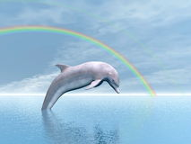 Freedom of the dolphin - 3D render Stock Photo