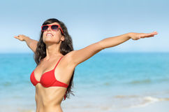 Freedom and enjoying beach summer vacations Royalty Free Stock Image