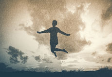 Freedom and Enjoyment concept - Happy lady jumping ,dancing with. Rain Royalty Free Stock Images