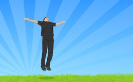 Freedom (eps file available). A man jumping from joy on a bright, sunlit day stock illustration