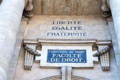 Freedom, equality, fraternity writing on paris university Royalty Free Stock Images