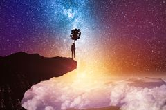 Freedom and fantasy concept. Back view of young backlit businesswoman flying with balloons on abstract starry sky space and cliff background. Freedom and fantasy vector illustration