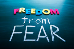 Freedom from fear. Colorful conceptual words on blackboard stock photos