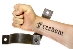 Freedom fight hand isolated cuffs Stock Images