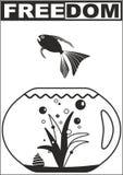 Freedom - Fish. Fish in Aquarium, title: Freedom. Black on white - illustration Royalty Free Stock Photo