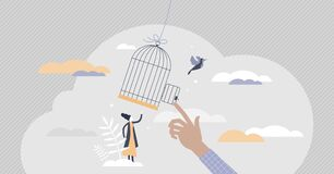 Free Freedom Gaining By Release From Capture And Fly Away Tiny Persons Concept Royalty Free Stock Image - 197498926