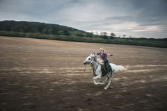 Freedom, galloping horse. Blonde woman Freedom, galloping on white horse stock photography