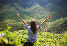 Freedom girl with hands up. In mountains Royalty Free Stock Photo