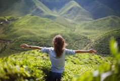 Freedom girl in mountains Royalty Free Stock Photography