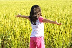 Freedom, girl in nature Stock Photos