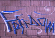 Freedom grafiti. Grafity on the wall - freedom concept Royalty Free Stock Images