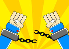 Freedom hand. Arms break a chain created by  describing freedom Stock Images