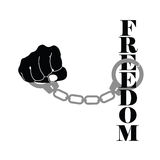Freedom with handcuffs black  Stock Photo