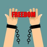 Freedom. Hands in shackles. Broken chain. Broken handcuffs. Palm Stock Photography
