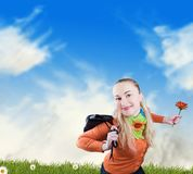 Freedom and happiness - smiling woman stock image