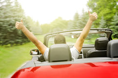 Freedom. Happy free man in the car Stock Image