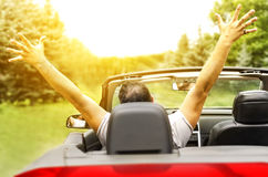 Freedom. Happy free man in the car Royalty Free Stock Photography