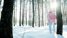 Freedom, happy girl walking in winter forest, backlit, happiness, young woman flirting, looking into the camera, sun`s. Rays shine through trees, winter fun stock video footage