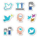 Freedom icons set - dove and fist symbols. Color vector icons set of free people, freedom concept  on white Royalty Free Stock Photos