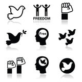 Freedom icons set - dove and fist symbols Stock Images
