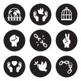 Freedom icons set. White on a black background Stock Images