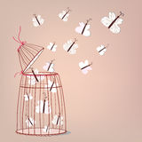 Freedom illustration - cage and butterflies Royalty Free Stock Photography