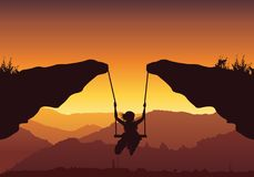 Freedom and independence concept background, Vector silhouette of a young teenager girl swinging over the mountain. Abstract Royalty Free Stock Photography