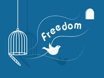 Freedom. Inspirational freedom with dove icon Royalty Free Stock Photo