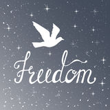 Freedom. Inspirational quote. Modern calligraphy phrase with silhouette bird. Night sky pattern. Lettering in boho style for print and posters. Hippie quotes Royalty Free Stock Photos