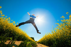 Free Freedom Jump On The Field Stock Images - 20226694