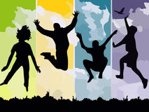 Freedom, Jump, Reach, Silhouettes Royalty Free Stock Photos