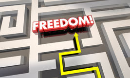 Freedom Liberation Get Out of Maze Arrow. 3d Illustration Stock Photo