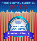 Freedom Liberty Presidential Election 2016. Presidential Election Campaign Ad Flyer. Freedom Liberty Social Promotion Banner. Every Vote Counts. American Flag's Stock Image