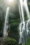 Freedom Of Life. Free Man Raising Hands Near Waterfall. Health Royalty Free Stock Photos