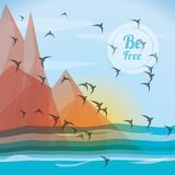 Freedom lifestyle design. Birds of freedom lifestyle and raised theme Vector illustration Stock Image