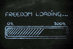 Freedom loading, progess bar illustration. A better word: progress bar metaphorically loading more freedom Stock Images