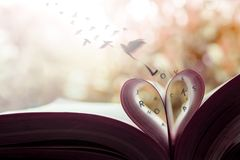 Freedom and Love Concept. Birds Flying out the Page Roll like a Heart Shape on Book
