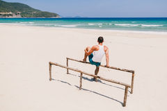 Freedom man on the beach back view Royalty Free Stock Photography